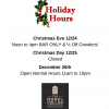 Holiday Hours...